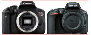 Canon EOS Rebel T6i vs Nikon D5500-front1