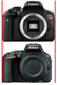 Canon EOS Rebel T6i vs Nikon D5500-front2